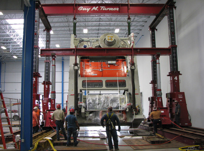 Getting a 400-ton stamping press situated.